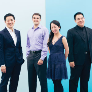 A portrait featuring the four members of the Afiara String Quartet against a light blue background.