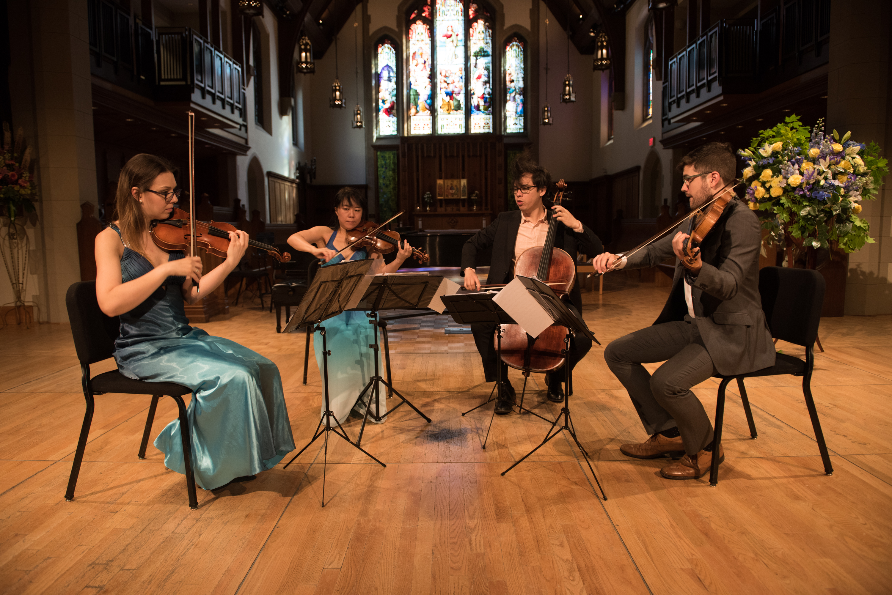 A string quartet performs at a Music in the Morning concert.